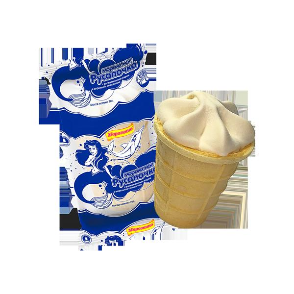 """Мороженое с заменителем молочного жира """"Русалочка"""" в вафельном стаканчике"""