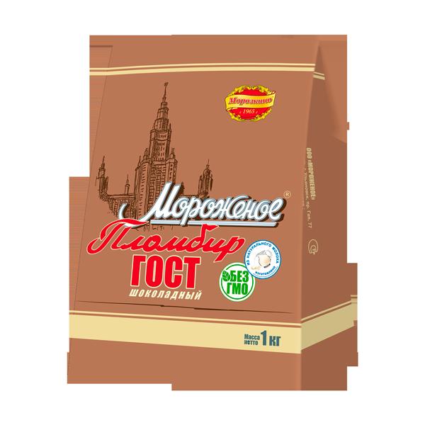 """Пломбир """"ГОСТ"""" шоколадный бумажный пакет"""