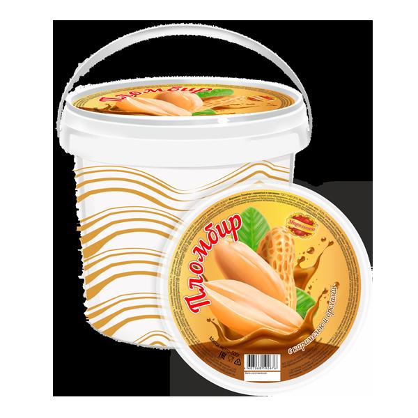 Пломбир с карамелью и орехами в ведре