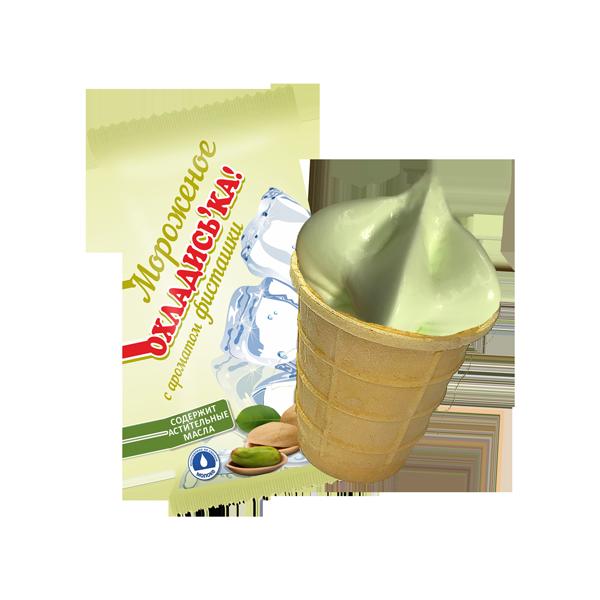 Мороженое с заменителем молочного жира «Охладись-ка!» с ароматом фисташки в вафельном стаканчике